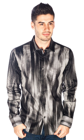 Barabas Cotton Black Brush Steel Print Slim Fit Button Down Shirt