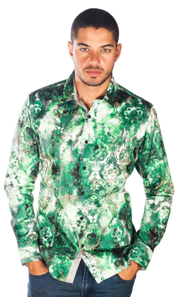 Barabas Cotton Lime Green Rusto Print Slim Fit Button Down Shirt B9007