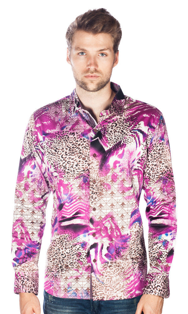 Barabas Cotton Magenta Cheetah Print Slim Fit Button Down Shirt B9014