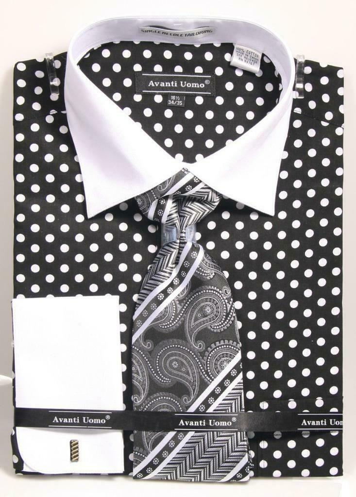 Avanti Uomo Men's DN92M Polka Dot French Cuff Shirts Tie Set with Cuff Links