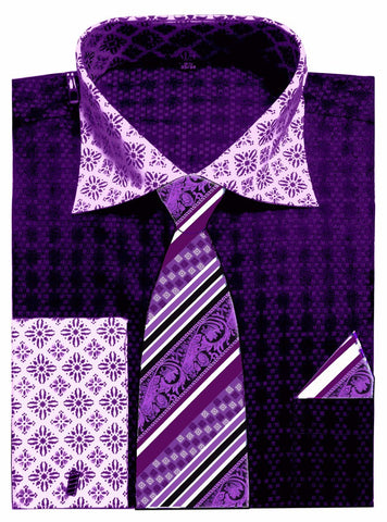 Avanti Uomo Men's DN69M Two Tone French Cuff Shirts Tie Set with Cuff Links