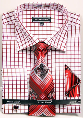 Avanti Uomo Men's DN72M Square French Cuff Shirts Tie Set with Cuff Links