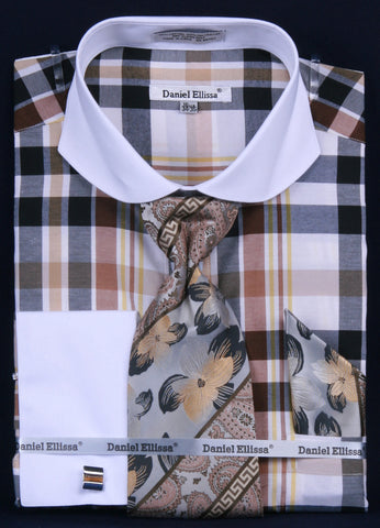 Daniel & Ellissa DS3767P2 Men's Multi Checker French Cuff Shirts with Cuff Links
