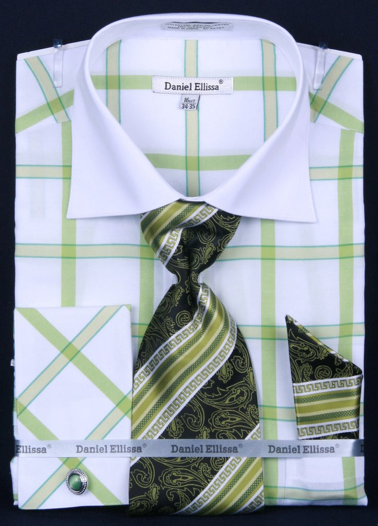 Daniel & Ellisa DS3768P2 Men's Multi Checker French Cuff Shirts with Cuff Links