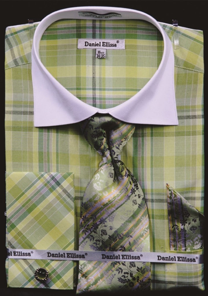 Daniel & Ellisa DS3772P2 Men's Checker Pattern Multi Color French Cuff Shirts with Cuff Links