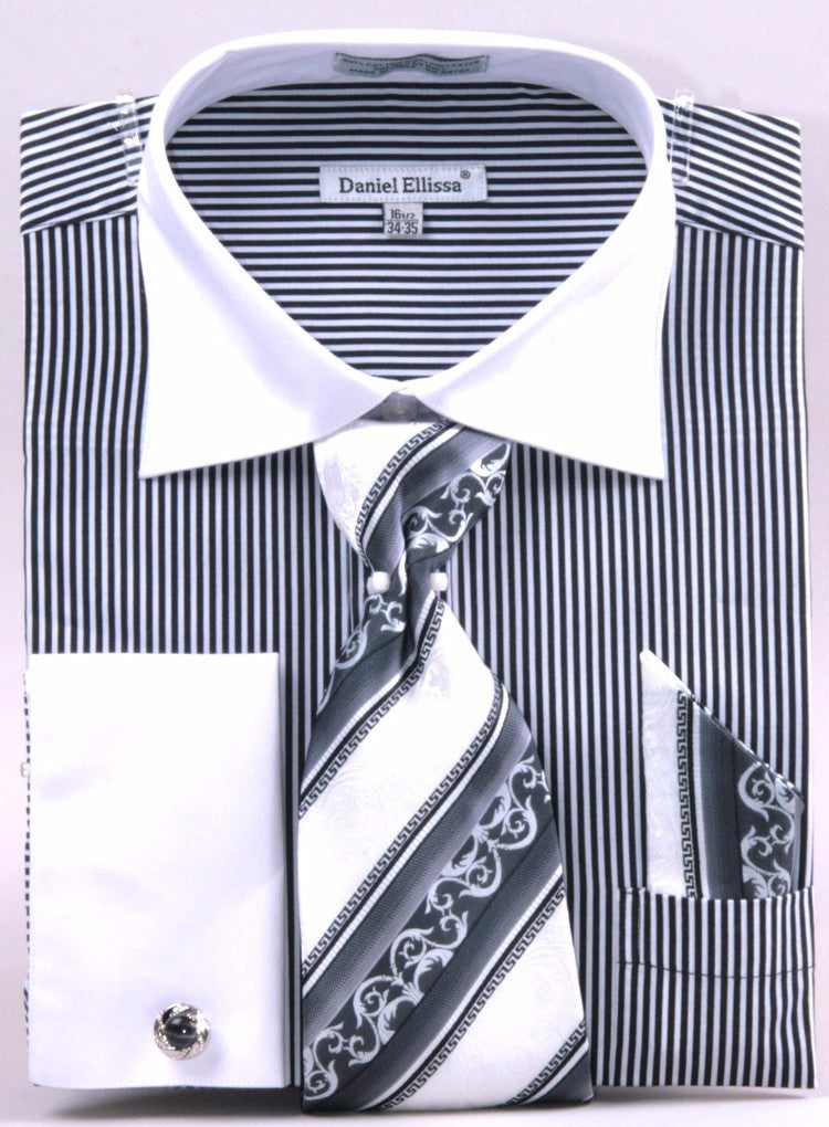 Daniel & Ellisa DS3775P2 Men's Two Tone French Cuff Shirts with Cuff Links