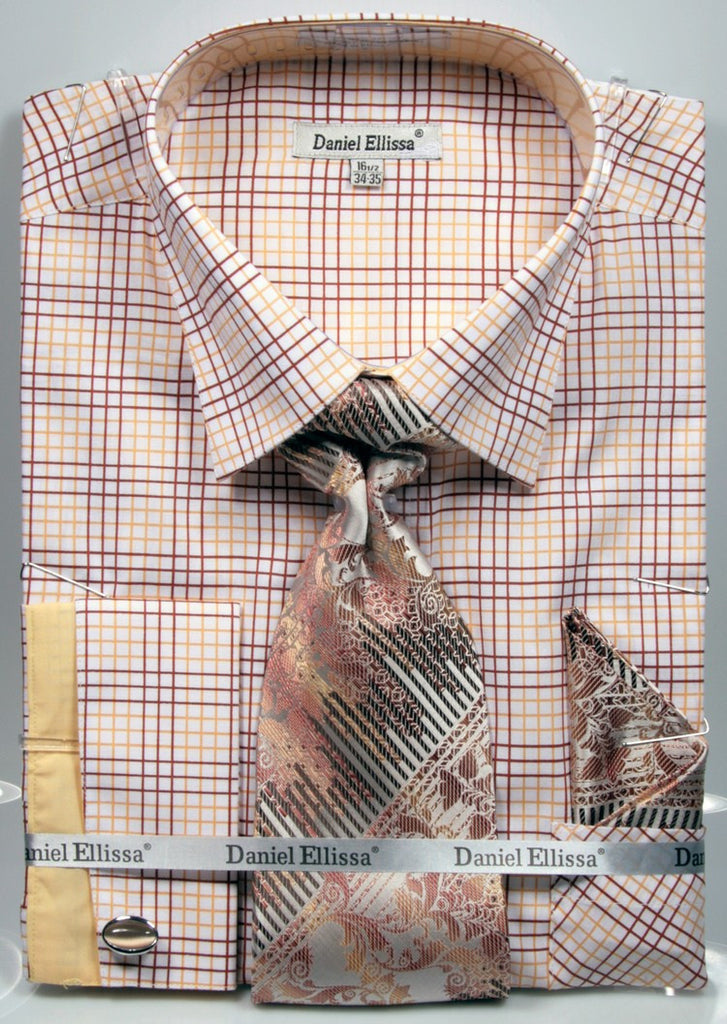 Daniel & Ellisa DS3781P2 Men's Multi Checker French Cuff Shirts with Cuff Links
