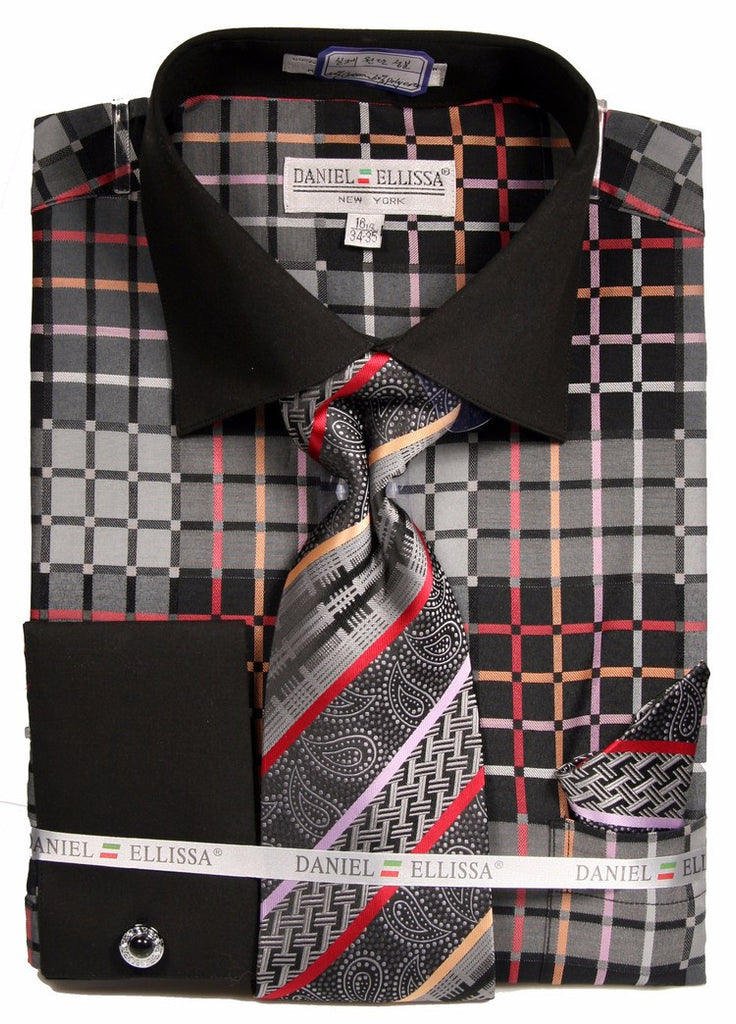 Daniel & Ellisa DS3785P2 Men's Checker Pattern French Cuff Shirts with Cuff Links