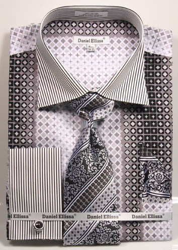 Daniel & Ellisa DS3786P2 Men's French Cuff Dress Geometric Pattern Shirts with Cuff Links