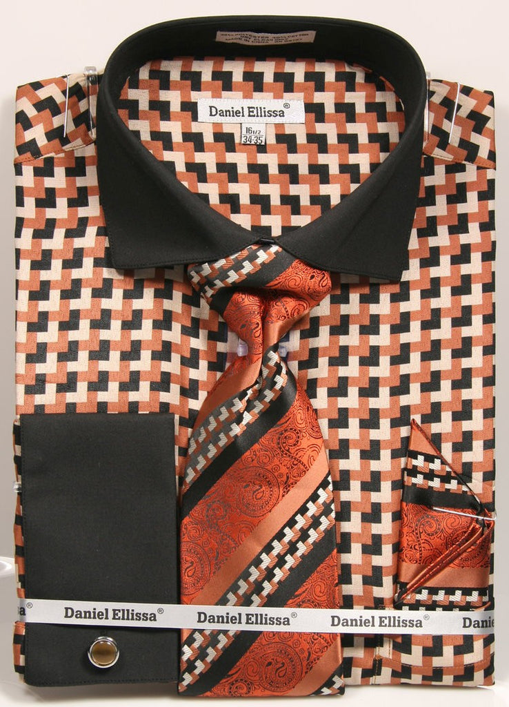Daniel & Ellissa DS3788P2 Men's Multi Checker French Cuff Shirts with Cuff Links