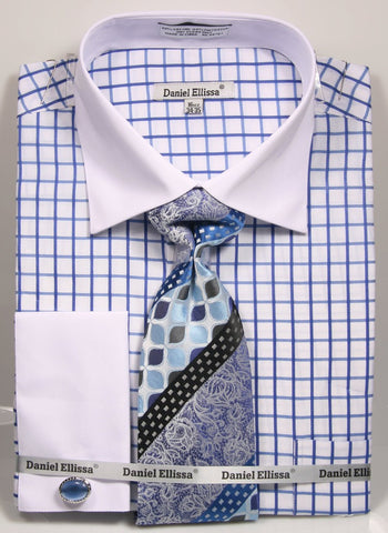 Daniel & Ellissa DS3789P2 Men's Multi Checker French Cuff Shirts with Cuff Links