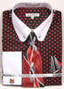Daniel Ellissa Black/Red Polka Dot Shirt with Tie  Cufflinks and Collar Bar DS3791P2