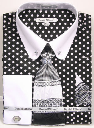 Daniel Ellissa Black/White Polka Dot Shirt with Tie Cufflinks and Collar Bar DS3791P2