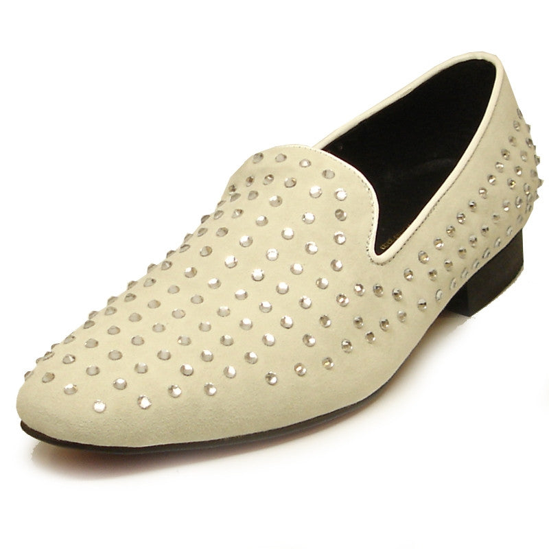 Fiesso by Aurelio Garcia Off White Rhinestones Suede Dress Shoes FI 6853