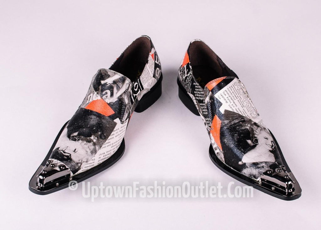 Fiesso Marilyn Monroe Print Pointed Metal Toe Slip on Shoes FI 6867