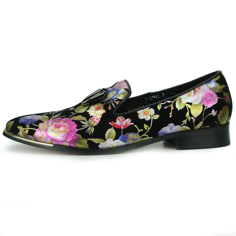 Fiesso Black Roses Floral Suede Slip-on Dress Shoes FI 6921