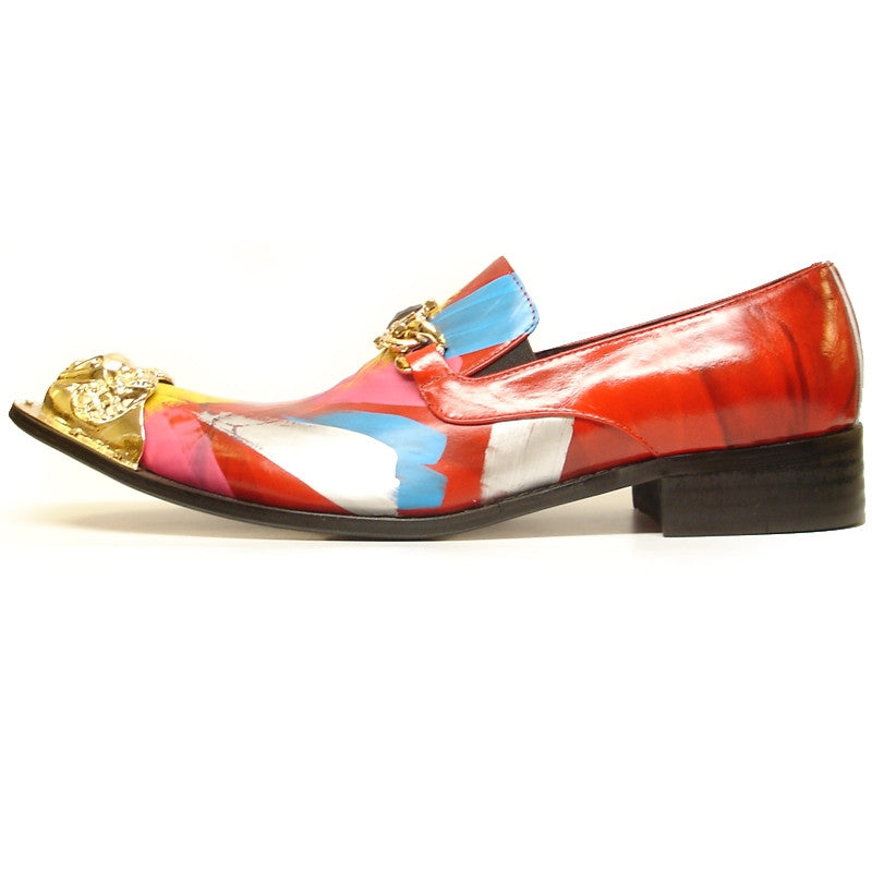 Fiesso Pointed Gold Metal Tip Red Paint Dress Shoes FI 6950