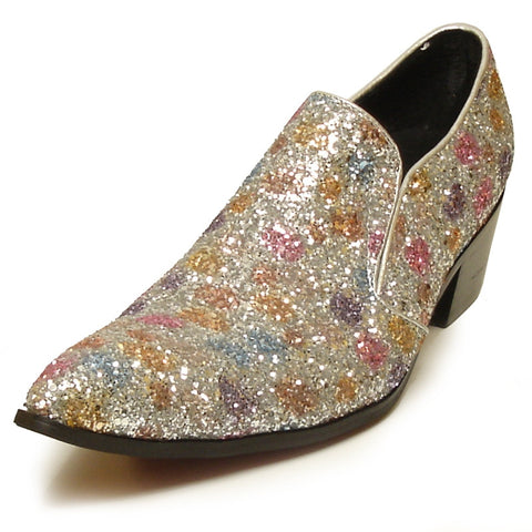 Fiesso by Aurelio Garcia Pointed Toe Multi Color Glitter Dress Shoes