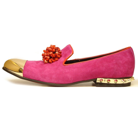Fiesso by Aurelio Garcia Fuschia Slip on Suede Shoes FI 7050