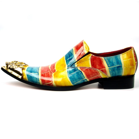 Fiesso Multi Color Print Leather Pointed Toe Metal Tip Shoes FI 7433