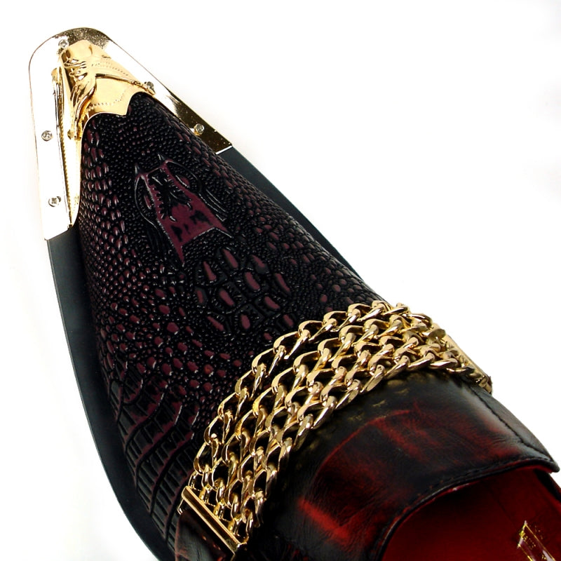 Fiesso Burgundy Snake Print Leather Pointed Toe Metal Tip Shoes FI 7435