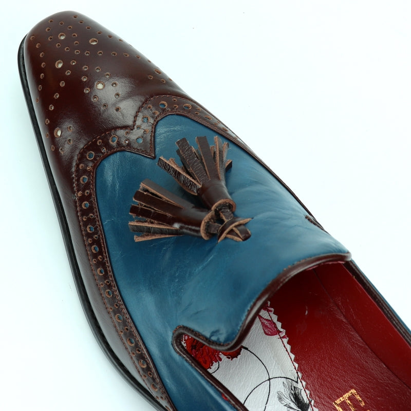 Encore By Fiesso Wingtip Slip on with Tassels Leather Shoes FI 8705