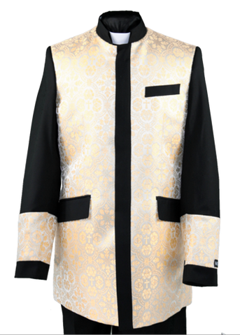 Men's Preaching Clergy Jacket Black/Cream