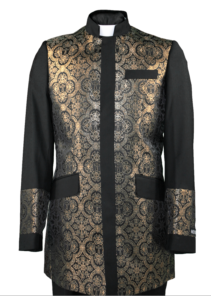 Men's Preaching Clergy Jacket Black/Gold