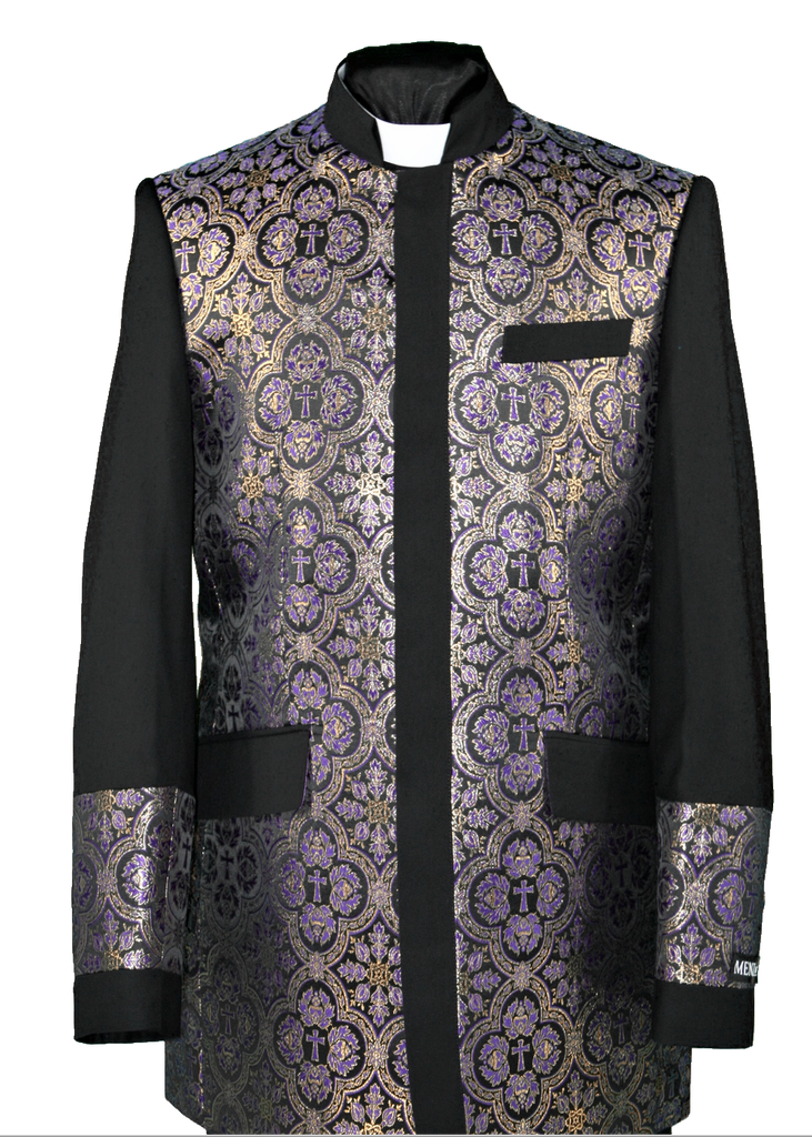 Men's Preaching Clergy Jacket Black/Purple