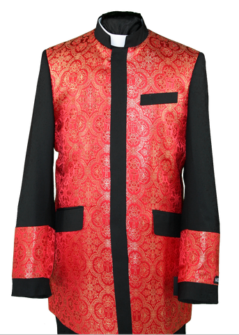 Men's Preaching Clergy Jacket Black/Red
