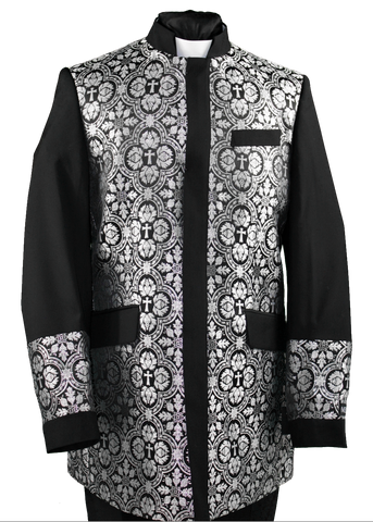 Men's Preaching Clergy Jacket Black/Silver