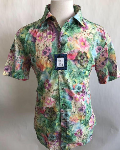 Lanzzino Floral Short Sleeves Lime Green Shirt