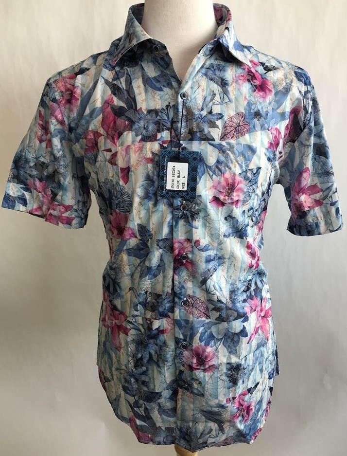 Lanzzino Floral Short Sleeves Blue Shirt