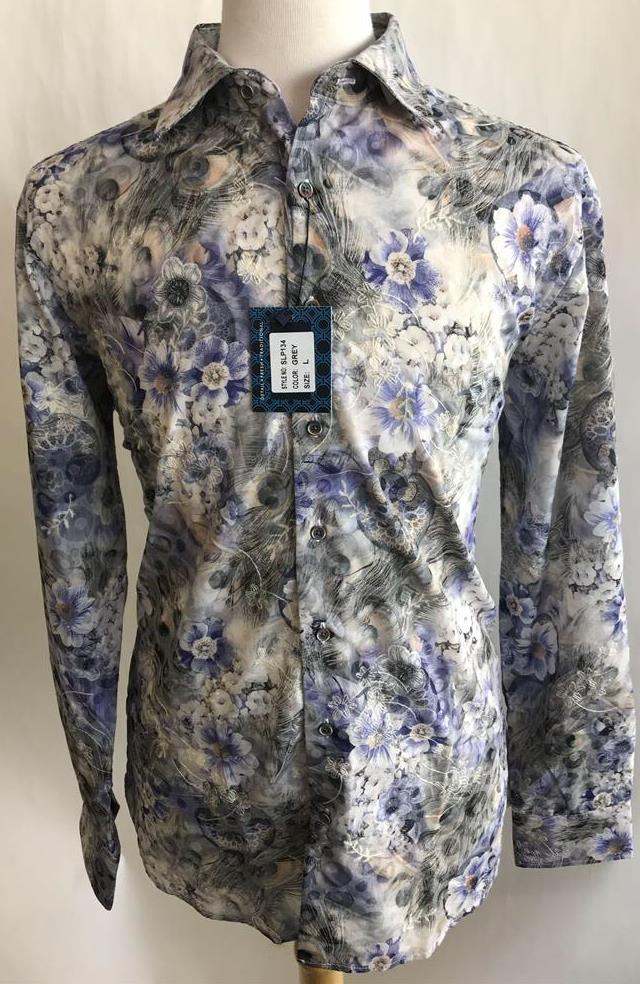 Lanzzino Floral Print Long Sleeves Casual Grey Purple Shirt