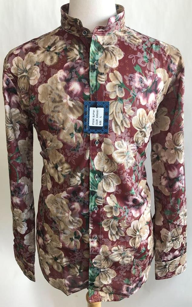 Lanzzino Floral Print Long Sleeves Casual Burgundy Shirt