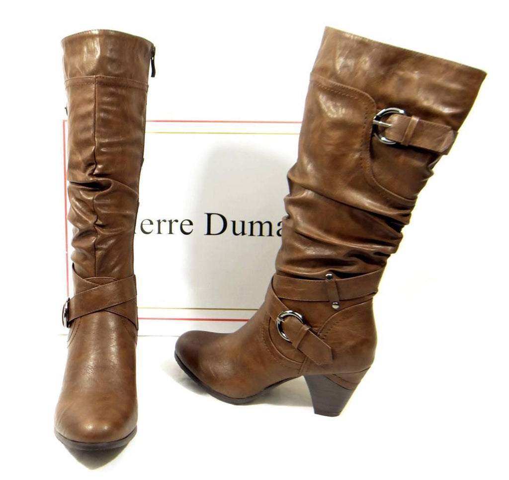 Pierre Dumas Full Zipper Scrunched Buckle Accent Brown Boots Rosina-6