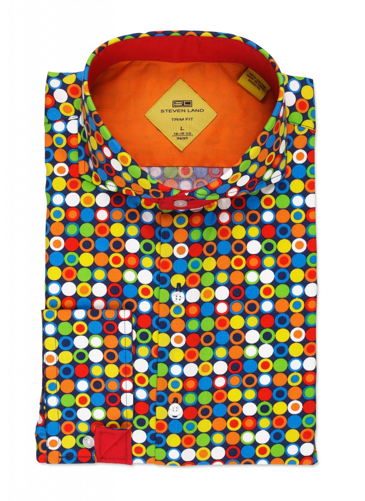Steven Land Dress Shirt Multi Polka Dots