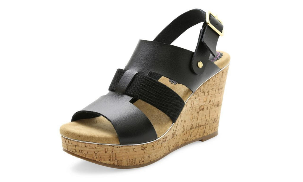 XOXO Beebee Strappy Wedge Sandals Black XO161040