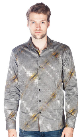 Barabas Cotton Gold Gray Billow Slim Fit Button Down Shirt B9018