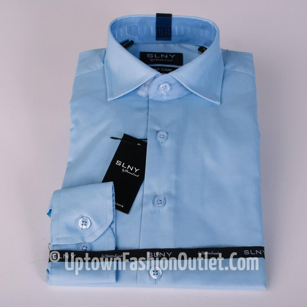 New Steven Land Boys Solid Slim Spread Collar Dress Shirt