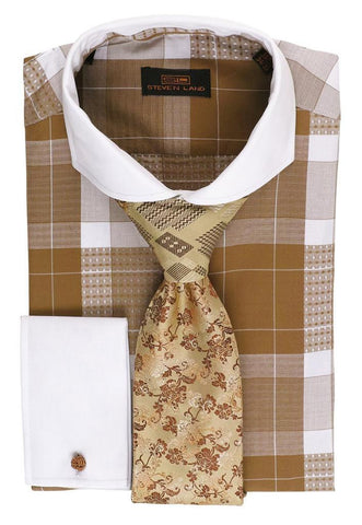Steven Land Plaid Tan/White Collar Cuffs Dress Shirt