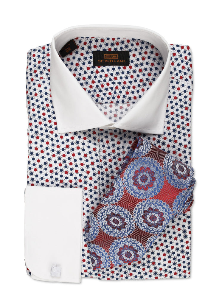 Steven Land White/Blue Polka Dot Shirt