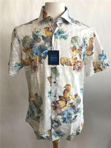 Lanzzino Floral White Short Sleeves Casual Shirt