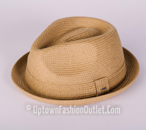 Men's Bailey Of Hollywood Straw Pinch Top Crown Billy Fedora Latte