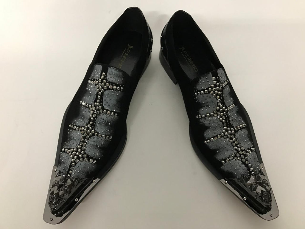 Fiesso Black Suede With Rhinestones/Studs Slip-on Shoes FI 7008-2