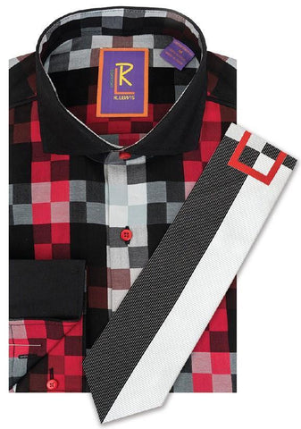 R Lewis Red Multi Check Downtown Cotton Dress Shirt