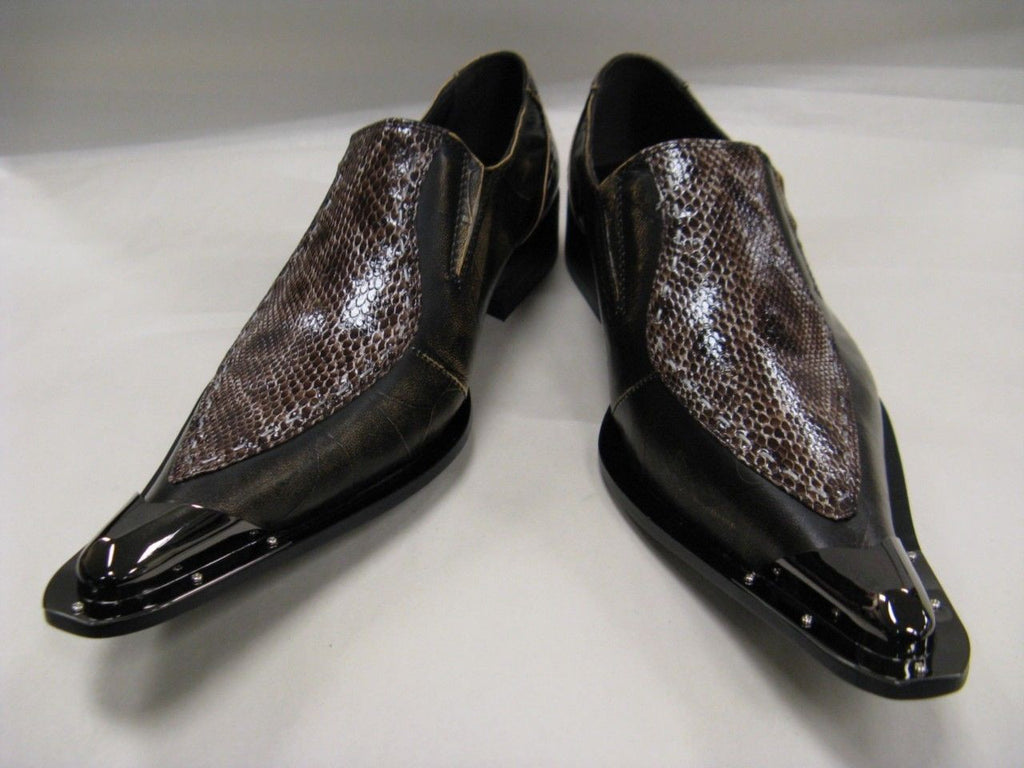 New Brown Men's Fiesso Snake Print Shoes FI 6594