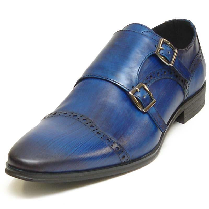 New Encore Blue Pointed Toe Leather Brogue Slip on Dress Shoes FI 6922