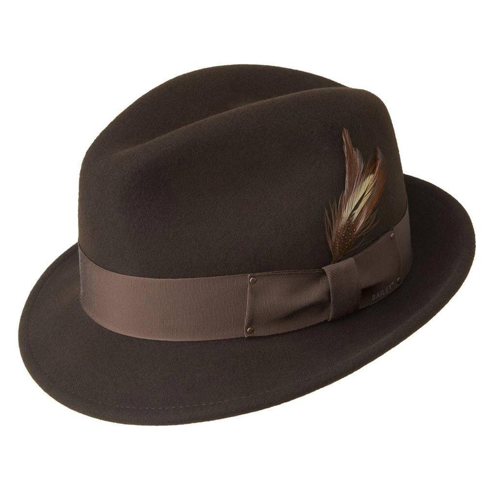 Men's Bailey Of Hollywood Litefelt Wool Center Dent Tino 7001 Fedora Brown
