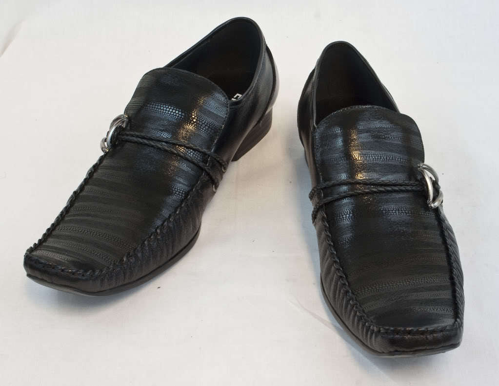 New Encore Dress Shoes by Fiesso Black 2 Braided Straps FI6620